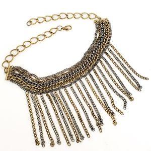Vintage necklace bib chains antique brass gunmetal